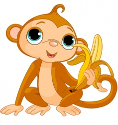 comic monkey with banana vector image vector image