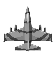 Military aircraft icon gray monochrome style vector image vector image