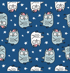 cute seamless pattern with hand drawn owl vector image vector image