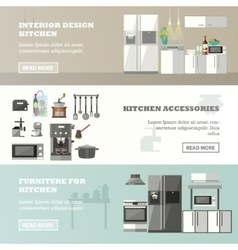 set of banners with kitchen interior vector image