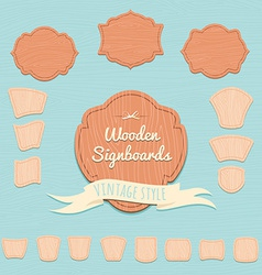 Set of wooden signboards Flat style vector image
