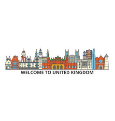 united kingdom outline skyline british flat thin vector image