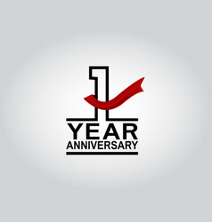 1 year anniversary logotype with black outline vector