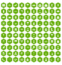 100 flowers icons hexagon green vector image