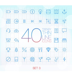 40 Trendy Thin Icons for web and mobile Set 3 vector image