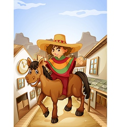 A young man with his horse strolling vector