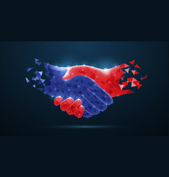 abstract handshake on blue vector image