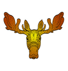 Antistress colored in orange shades moose head vector