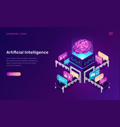 artificial intelligence or ai isometric concept vector image