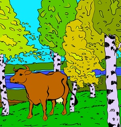 autumn sunny landscape with forest river and cow vector image