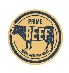 Beef stamp - label with cow natural prime meat vector