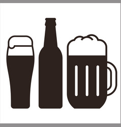 beer mugs and bottle vector image