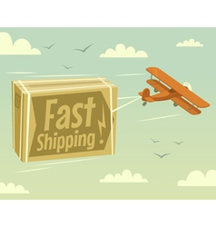 Biplane and fast shipping vector