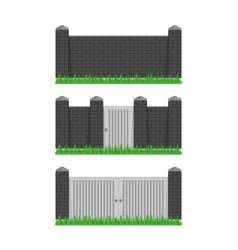 black stone bricks fence vector image