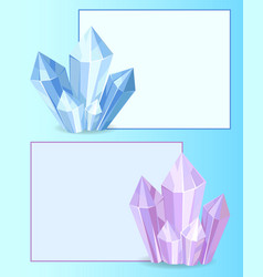 Blue and purple crystals gemstones organic mineral vector