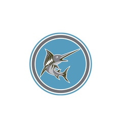 Blue Marlin Fish Jumping Circle Retro vector