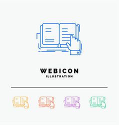 Book lesson study literature reading 5 color line vector