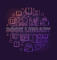 Book library colorful circular outline vector
