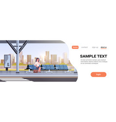 businesswoman sitting modern bus stop business vector image