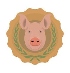 Butchery logo Pig head in laurel wreath No outline vector image