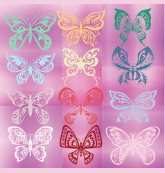 butterfly set isolated on colorful violet vector image
