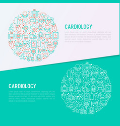 Cardiology concept in circle vector