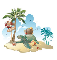 cartoon island with luggage in sea vector image