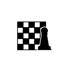 Chessboard and figure icon element of chess for vector