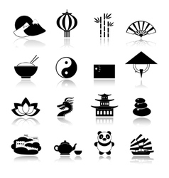China icons set black vector image