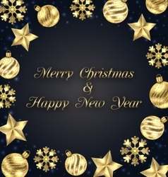 Christmas Frame of Golden Baubles Greeting Banner vector