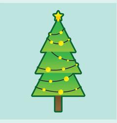christmas tree with decorative illumination vector image