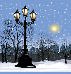 Christmas winter cityscape snow city park skyline vector