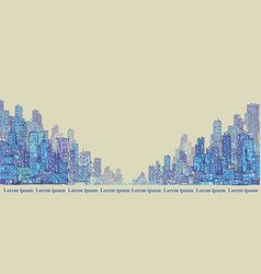 City panorama hand drawn cityscape drawing vector
