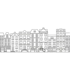 city skyline in line art style with buildings and vector image