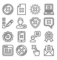 close icons set cross sign line style vector image
