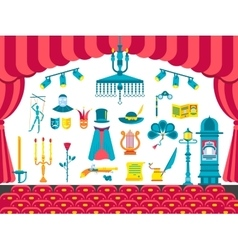 Collection of theater icons items design vector image