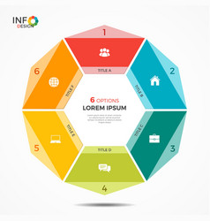 Colorful infographic template with circle chart 6 vector