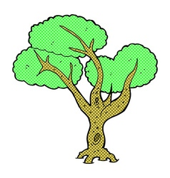 Comic cartoon tree vector