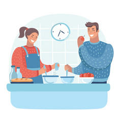 couple in kitchen man and woman preparing vector image