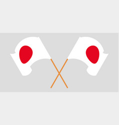 Crossed and waving flags japan vector