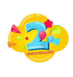 cute cartoon template 2 years anniversary vector image