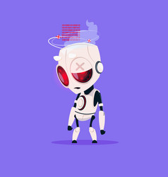 Cute robot broken isolated icon on blue background vector