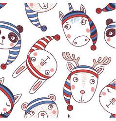 Cute winter animals seamless pattern vector