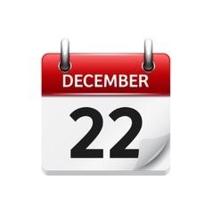 December 22 flat daily calendar icon vector