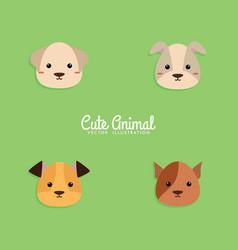 Dog cartoon faces vector