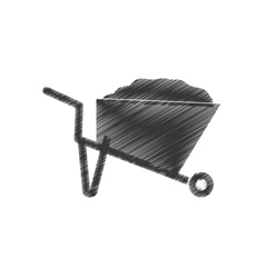 drawing wheelbarrow mine equipment figure vector image