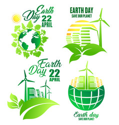 earth day icon for ecology and environment design vector image