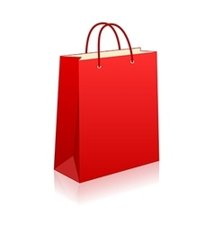 Empty red shopping bag on white for advertising vector image