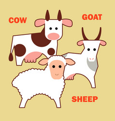farm animals cow sheep and goat simple vector image