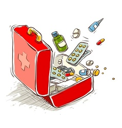 first aid box with medical vector image